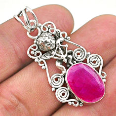 6.07cts natural red ruby oval 925 sterling silver angel pendant jewelry t40780