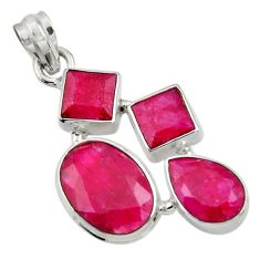 Clearance Sale- 21.18cts natural red ruby oval 925 sterling silver pendant jewelry d43712