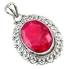 10.32cts natural red ruby oval 925 sterling silver pendant jewelry r32281