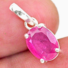 3.03cts natural red ruby oval 925 silver handmade pendant jewelry t16327