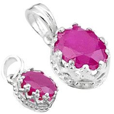 2.69cts natural red ruby oval 925 sterling silver pendant jewelry t22286