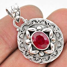 3.14cts natural red ruby oval 925 sterling silver pendant jewelry t42935