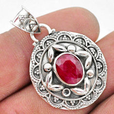 3.14cts natural red ruby oval 925 sterling silver pendant jewelry t42937