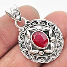 3.28cts natural red ruby oval 925 sterling silver pendant jewelry t42939