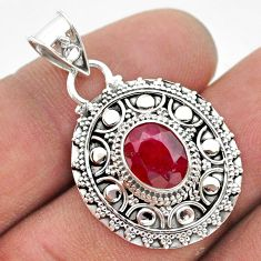 3.14cts natural red ruby oval 925 sterling silver pendant jewelry t42957