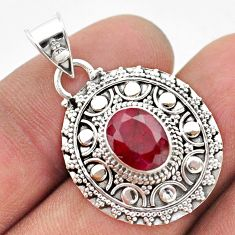 3.14cts natural red ruby oval 925 sterling silver pendant jewelry t42959