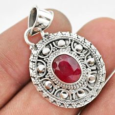 3.28cts natural red ruby oval 925 sterling silver pendant jewelry t42973
