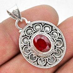 3.00cts natural red ruby oval 925 sterling silver pendant jewelry t42979
