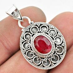 2.93cts natural red ruby oval 925 sterling silver pendant jewelry t42980