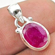2.50cts natural red ruby oval 925 sterling silver pendant jewelry t51455