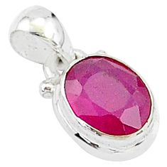 2.96cts natural red ruby oval 925 sterling silver pendant jewelry t5548