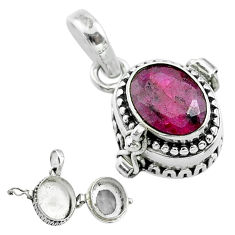 2.98cts natural red ruby oval 925 sterling silver poison box pendant t52566