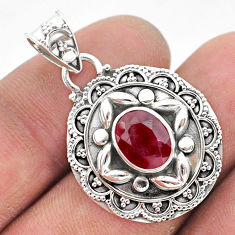 3.13cts natural red ruby oval shape 925 sterling silver pendant jewelry t42940