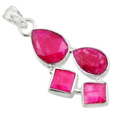 19.72cts natural red ruby pear 925 sterling silver pendant jewelry d43714