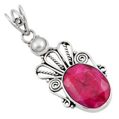 10.02cts natural red ruby pearl 925 sterling silver pendant jewelry d39341