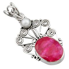 11.23cts natural red ruby pearl 925 sterling silver pendant jewelry d46606