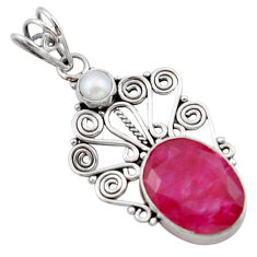 11.23cts natural red ruby pearl 925 sterling silver pendant jewelry d46678