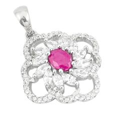 Natural red ruby topaz 925 sterling silver pendant jewelry c17840