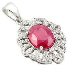Natural red ruby topaz 925 sterling silver pendant jewelry c18073