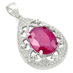 Natural red ruby topaz 925 sterling silver pendant jewelry c18049