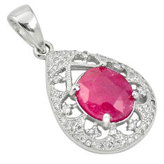 Natural red ruby topaz 925 sterling silver pendant jewelry c18062