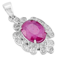 5.87cts natural red ruby topaz 925 sterling silver pendant jewelry c18080