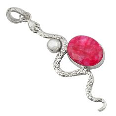 10.37cts natural red ruby white pearl 925 sterling silver snake pendant d47274
