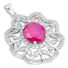 7.30cts natural red ruby white topaz 925 sterling silver pendant jewelry c18056
