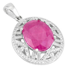 11.95cts natural red ruby white topaz 925 sterling silver pendant jewelry c18046