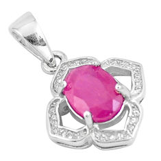 4.24cts natural red ruby white topaz 925 sterling silver pendant jewelry c18010