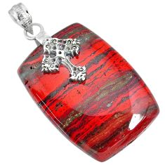 49.72cts natural red snakeskin jasper 925 silver holy cross pendant r91267