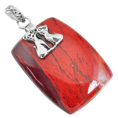 46.30cts natural red snakeskin jasper 925 silver two cats pendant r91275