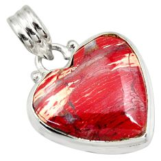 16.73cts natural red snakeskin jasper 925 sterling silver heart pendant d41845