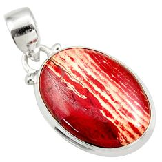 Clearance Sale- 15.65cts natural red snakeskin jasper 925 sterling silver pendant jewelry d41846