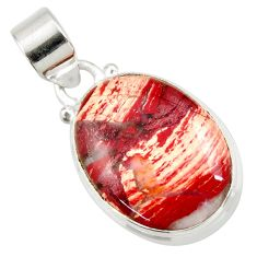 Clearance Sale- 14.68cts natural red snakeskin jasper 925 sterling silver pendant jewelry d41849