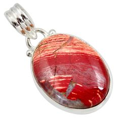 15.08cts natural red snakeskin jasper 925 sterling silver pendant jewelry d41852