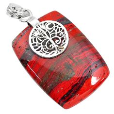 44.84cts natural red snakeskin jasper 925 sterling silver pendant jewelry r91268