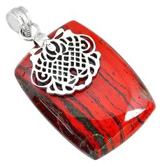 49.57cts natural red snakeskin jasper 925 sterling silver pendant jewelry r91269