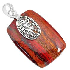 39.30cts natural red snakeskin jasper 925 sterling silver pendant jewelry r91270
