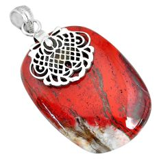 58.43cts natural red snakeskin jasper 925 sterling silver pendant jewelry r91271