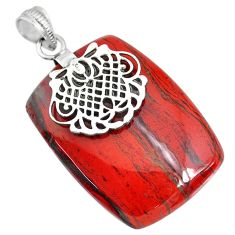 51.17cts natural red snakeskin jasper 925 sterling silver pendant jewelry r91272
