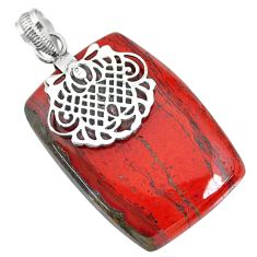 45.57cts natural red snakeskin jasper 925 sterling silver pendant jewelry r91273