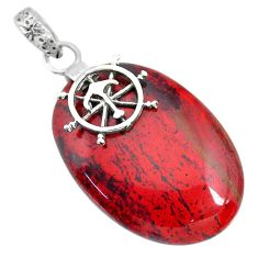 31.60cts natural red snakeskin jasper 925 sterling silver pendant jewelry r91280
