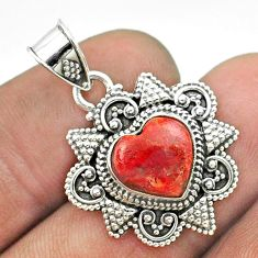 4.82cts natural red sponge coral 925 sterling silver heart pendant t56074