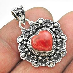 5.15cts natural red sponge coral 925 sterling silver heart pendant t56109