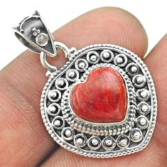 4.84cts natural red sponge coral 925 sterling silver heart pendant t56167