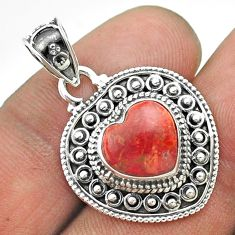 4.82cts natural red sponge coral 925 sterling silver heart pendant t56168
