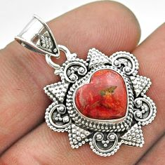 5.10cts natural red sponge coral 925 sterling silver pendant jewelry t56046
