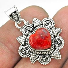 4.42cts natural red sponge coral 925 sterling silver pendant jewelry t56058