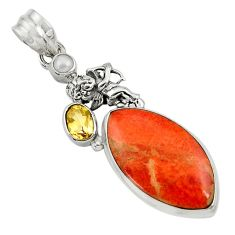 17.93cts natural red sponge coral citrine pearl 925 silver angel pendant d44546